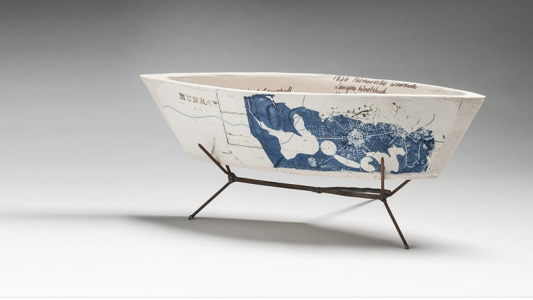 Anita McIntyre, Blue Print for a Capital (Vessel Series), 2015. The  porcelain paperclay monoprint drawing with screen prints and metal stand will feature at Craft ACT's ceramics triennale exhibition.