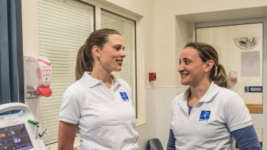 Medical registrar Louise Ward (left) with Dr Bethan Richards at RPA. Dr Richards is running a program to improve the well-being of junior doctors.