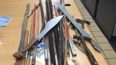 Items seized by police following a fatal brawl at Angurugu, on Groote Eylandt.