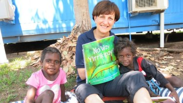 Suzy Wilson, founder of the Indigenous Literacy Foundation at the launch of No Way Yirrikipayi!, a book written and illustrated by the children of Milikapiti School, Melville Island.