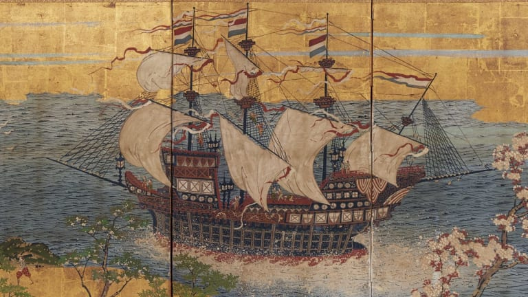 <i>Dutch trading ship in Japanese waters</i>, circa 1870, four-panel screen, opaque watercolour, ink and gold on paper, 67.5 by 138 by 11 centimetres, Kerry Stokes Collection, Perth, in <i>Treasure Ships: Art in the Age of Spices</i> at the Art Gallery of South Australia.