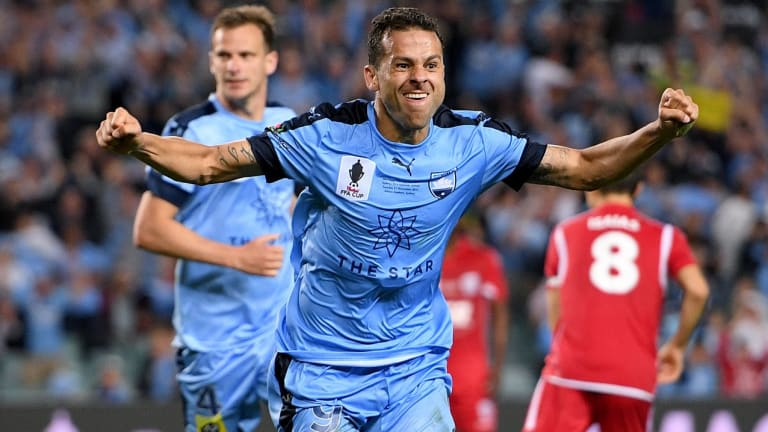 Golden touch: Bobo celebrates another goal for Sydney FC.