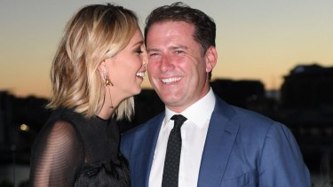 Karl Stefanovic and Jasmine Yarbrough at Harper's Bazaar Australia's 20th anniversary edition party.