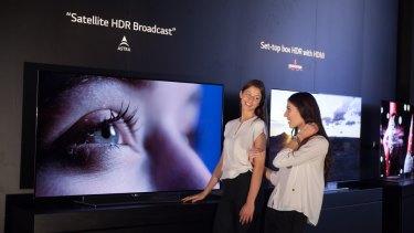 LG TVs are displayed at IFA 2015.
