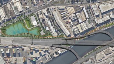 Aerial image of the planned West Gate Tunnel's Maribyrnong River crossing.