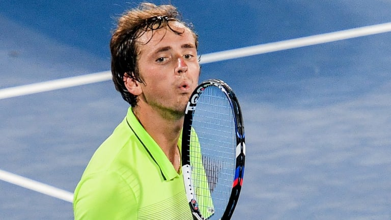 Sealed with a kiss: Daniil Medvedev blows a kiss after winning the Sydney International final.