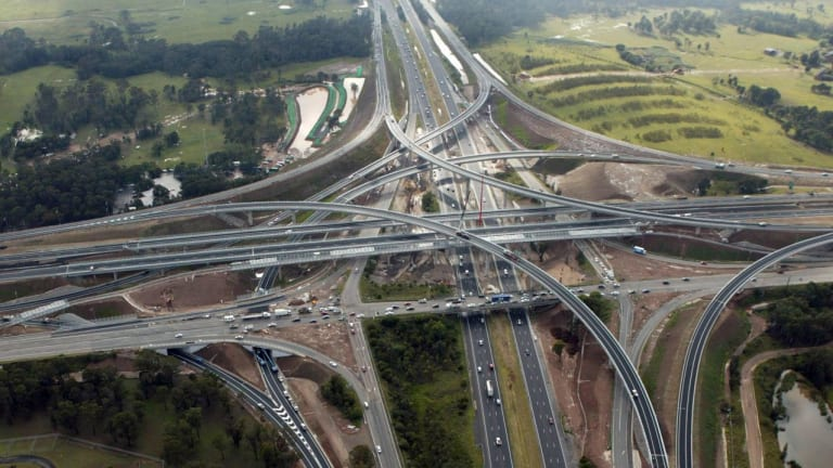 The New Westlink M7 spaghetti junction at the intersection of the M4 Western Motorway and Wallgrove Road.