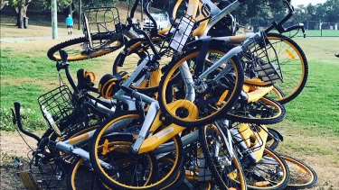 oBikes were found in a pile at Waverley Oval near Bondi Junction on Friday.