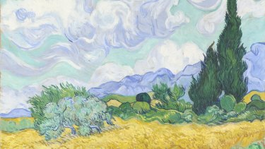 <i>Wheatfield with Cypresses </i>, early September 1889 (detail) by Vincent van Gogh.