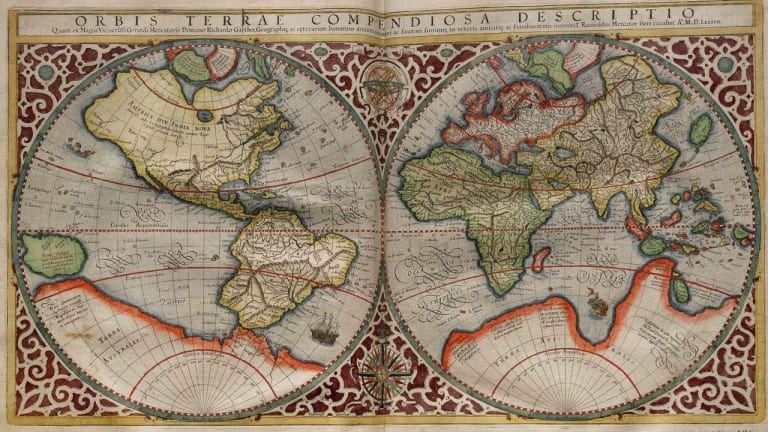 Planisphere Made By Rumold Mercator In 1587. Rumold Was The Son Of Gerardus  Mercator,