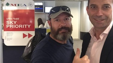 Adam Whittington (left) at Beirut airport with his lawyer Joe Karam as he prepared to fly out of Lebanon following his release.