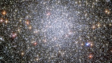 The globular cluster Tucanae 47. The binary system studied is near the cluster's core.