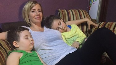 Sally Faulkner with her two children Lahala, 6, and Noah, 4, in Beirut after the child recovery operation.