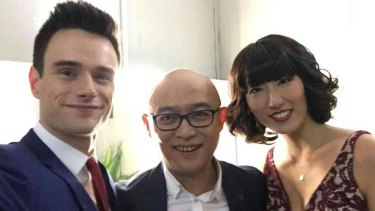 Benjamin McMahon and Feng Guo with <em>If You Are The One </em>host Meng Fei.