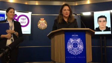 Detective Senior Constable Laura Colley (left) and Crime Stoppers Victoria general manager Cathy Rhodes, speaking to media on Wednesday.