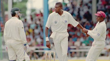 Curtly Ambrose in an altercation with Steve Waugh in 1995.