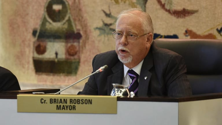 Former Canterbury Mayor Brian Robson at a council meeting in 2015.