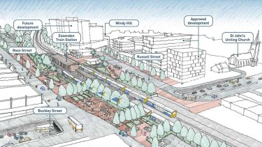 The government's plan for Essendon railway station and Buckley Street.