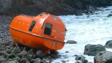 The single-use orange lifeboats.