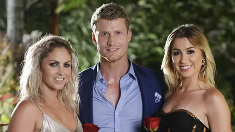 <i>The Bachelor</I> Richie Strahan with the show's final two - Nikki Gogan (left) and Alex Nation.