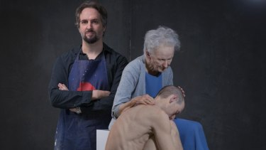 Sam Jinks in his Melbourne studio with The deposition.