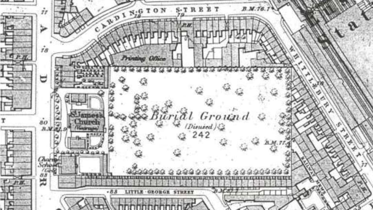 A 19th century map a former burial ground next to Euston station in north London where researchers say Matthew Flinders was buried.