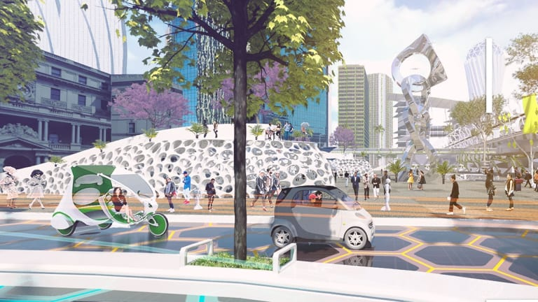 Another scene from a virtual reality film on Circular Quay in 2037 as part of the Future Street Project.