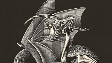 Escher's many mind-boggling visual explorations include <i>Dragon</I> (detail), 1952, wood engraving.