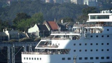 Fuel feud: A cruise liner at White Bay, Balmain.