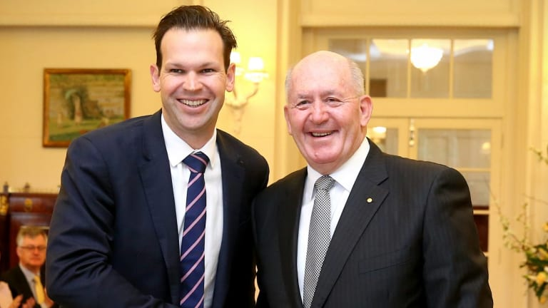 Matt Canavan at his swearing in as resources and Northern Australia Minister in 2016. He quit cabinet last week over citizenship confusion.