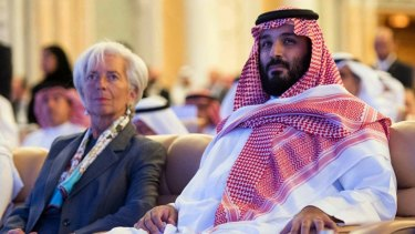Saudi Crown Prince Mohammed bin Salman, centre, and Managing Director of the International Monetary Fund Christine Lagarde, left, attend the opening ceremony of Future Investment Initiative Conference in Riyadh on Tuesday.