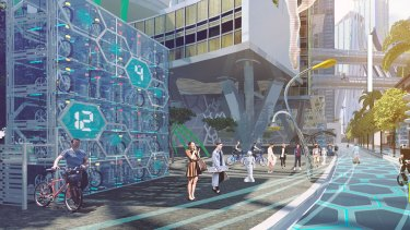 Scene from a virtual reality film on Circular Quay in 2037 as part of the Future Street Project.