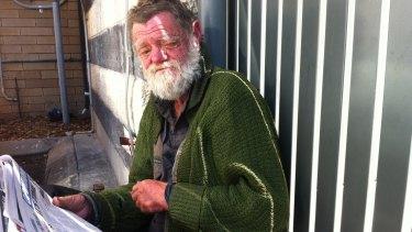 Homeless man Andrew Freeman in Cordelia St, South Brisbane.