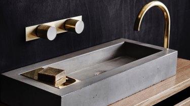 Timber vanity unit, $1490; concrete basin $880.
