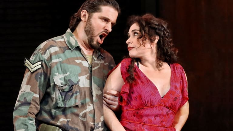 Marcelo Puente as Don Jose and Rinat Shaham as Carmen in Opera Australia's production.