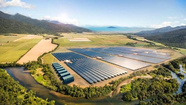Artist's impression of Lyon Solar's 30 megawatt solar and battery storage project, near Cooktown, north Queensland.