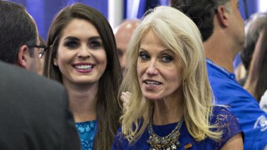 Donald Trump's campaign press secretary Hope Hicks (left) and campaign manager Kellyanne Conway become close to Ivanka Trump during the election.