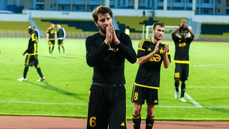 Long way from home: Antony Golec comes off the pitch with Sheriff Tiraspol, Transnistria.