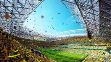 New look: An artist's impression of a rectangular ANZ Stadium.