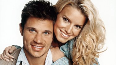 Nick Lachey and Jessica Simpson during their Newlyweds days.