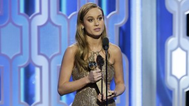 Brie Larson accepts the award for best actress in a motion picture drama for her role in <i>Room</i> at the 73rd Annual Golden Globe Awards.