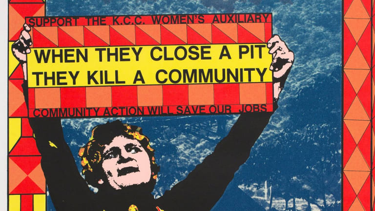 Alison Alder, When they close a pit they kill a community, 1984 (detail) screenprint on paper.  Courtesy of the artist