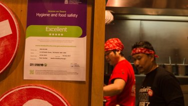 Wok on Inn at the Rocks displays its Scores on Doors food safety rating.