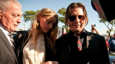 Johnny Depp and Amber Heard at a Queensland court in April 2016.