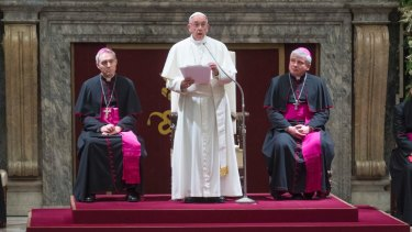 Pope Francis issued a stinging new critique of the Vatican's top administration during his address.