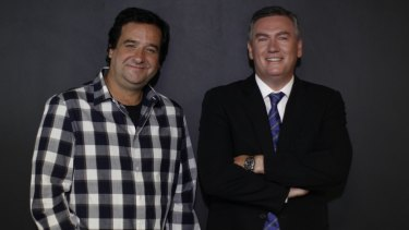 Eddie McGuire with comedian and fellow Triple M broadcaster Mick Molloy.