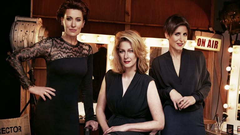 (L-R) ABC journalists Virginia Trioli, Leigh Sales, Emma Alberici