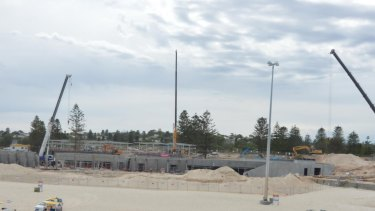 The City Beach construction site were the two workers were injured in a lightning strike on Thursday.