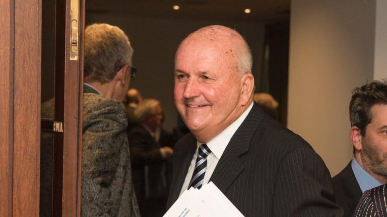 Slater & Gordon Chairman John Skippen leaves the company's AGM in Melbourne.