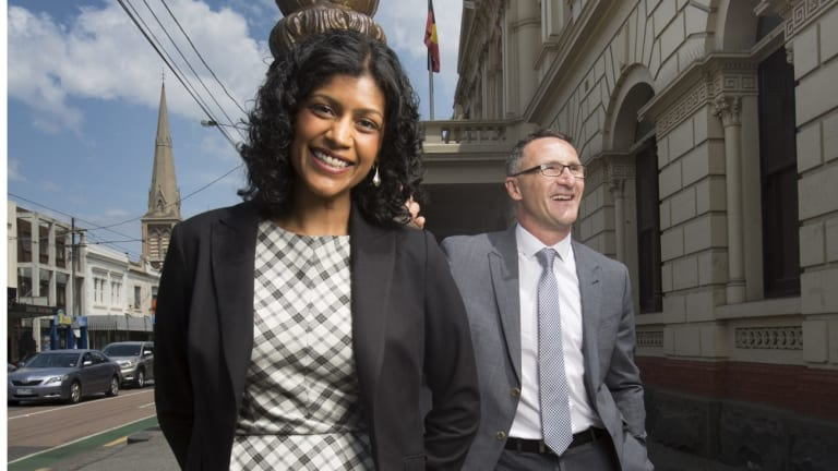 Greens candidate for Wills, Samantha Ratnam, seen here with party leader Richard Di Natale, has pulled out of an anti-racism rally.